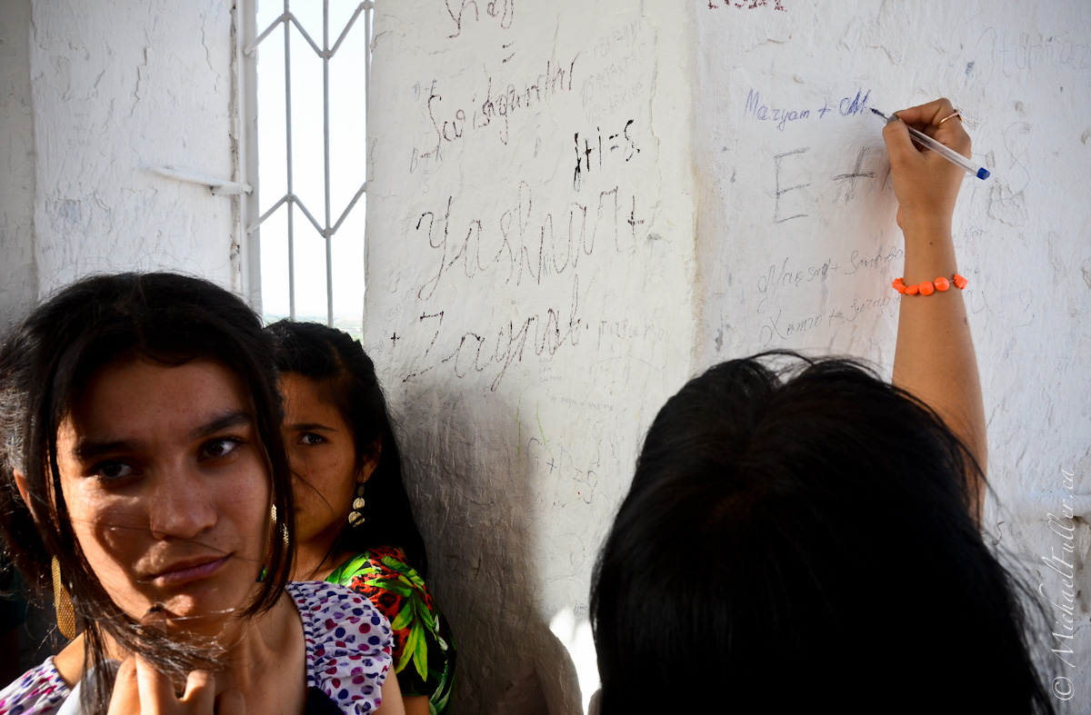 Graffiti is an unfortunate fact all over the world. These girls climbed stairs for 10 stories just to write their names and turn around again.
