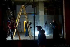 Night Works, installing panes of glass