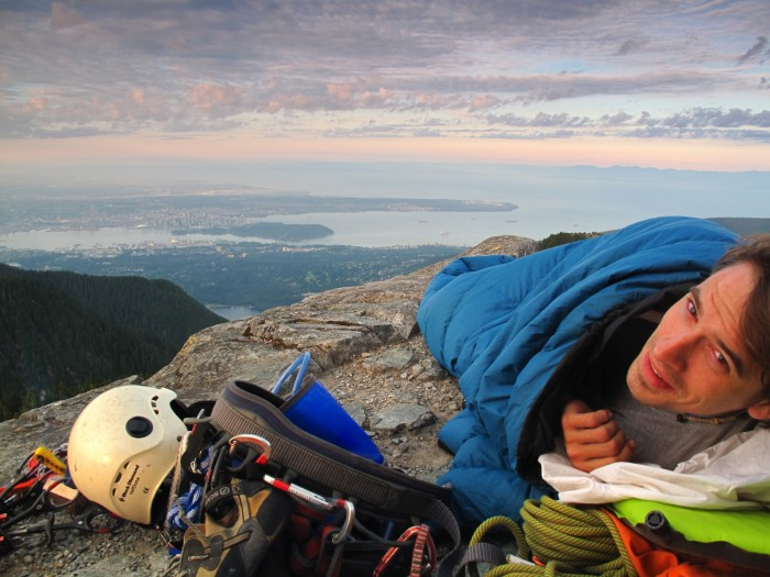 The sunrise from our mountaintop bivouac overlooking Vancouver (photo credit Boris)