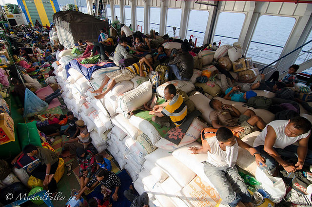 overcrowded overnight ferry in Sulawesi
