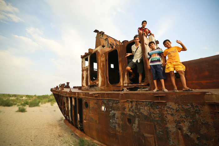 rusted ships in the Aral Sea