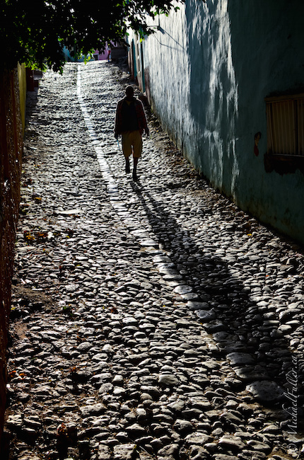 Street shooting in Trinidad, Cuba.