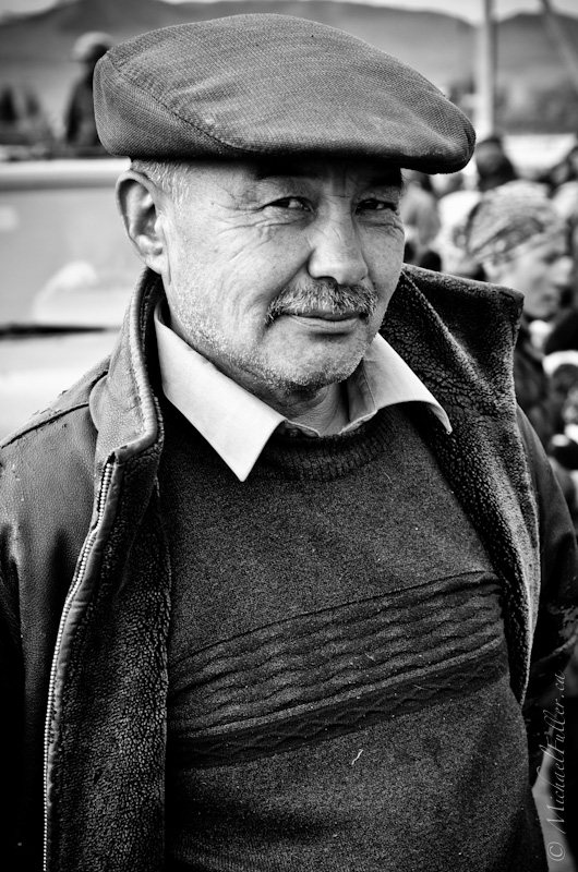 One of the thousands of the rugged Kyrgyz people attending Karakol's weekly Animal Bazaar.