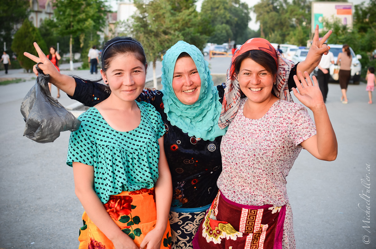 My first day in Uzbekistan, and I was still reeling at the variety of beautiful people. As I considered asking a woman for her portrait, her friend called out to me asking for a group shot!