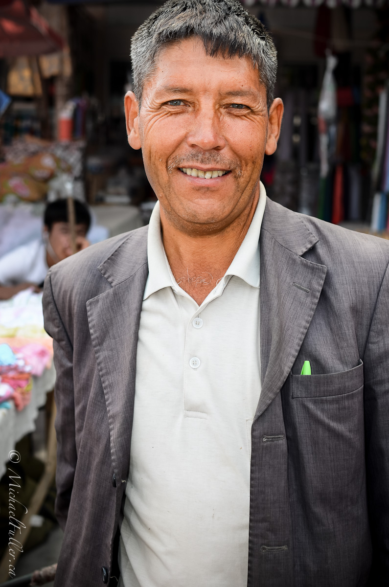 "Canadians are famously nice, but Uzbeks - wow. This handsome man was wandering a market and I stopped him for a photo. After, he told my friend/translator Askar he was sorry. Why?! ""For disturbing you on your walk."""