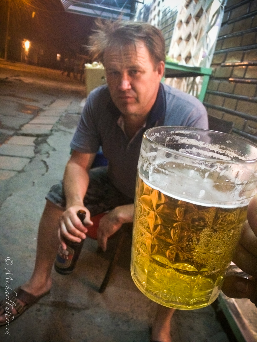 "Outside a shop in the capital Tashkent, this slightly drunk man Vlad approached me. When he learned that I, ""Misha"", was a guest in his country, he demanded I drink 'piva' (beer) with him. I declined and he walked away, returning minutes later from the nearby pub, pint in hand. After two beers, I protested hard against a third, but he was insistent, and I was shortly running away as he staggered after me spilling beer and shouting ""Miiiiisha!! Piiiiiva!"""
