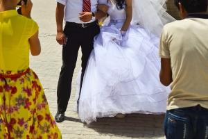 Uzbek weddings are serious media events: This couple had three photographers / videographers.