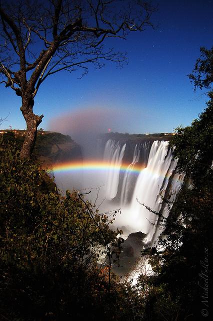 Lunar rainbow at Victoria Falls
