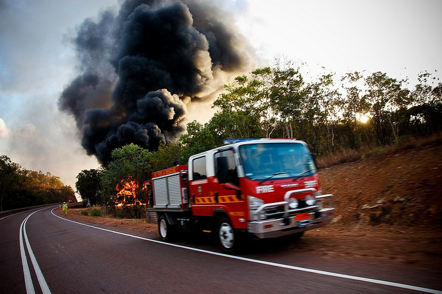 Not your typical bushfire: An oil tanker had crashed.