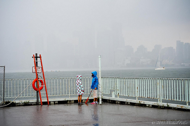 Not exactly Hecate Strait, but these girls braved the storm on Toronto Island. We cowered under a gazebo.