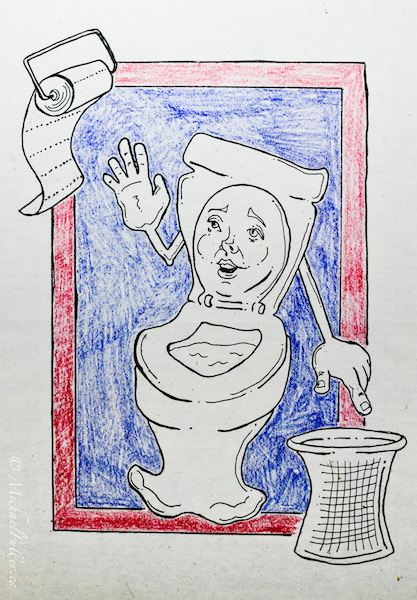 Asian bathroom toilet paper instructions