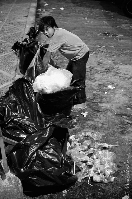 For each kilogram of plastic this kid collected, he earned a measly $1.