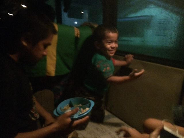child on bus shows us it's beginning to rain inside