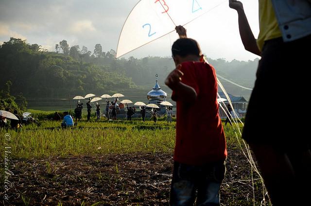 A kite ('layang layang') competition in rural Sumatra.
