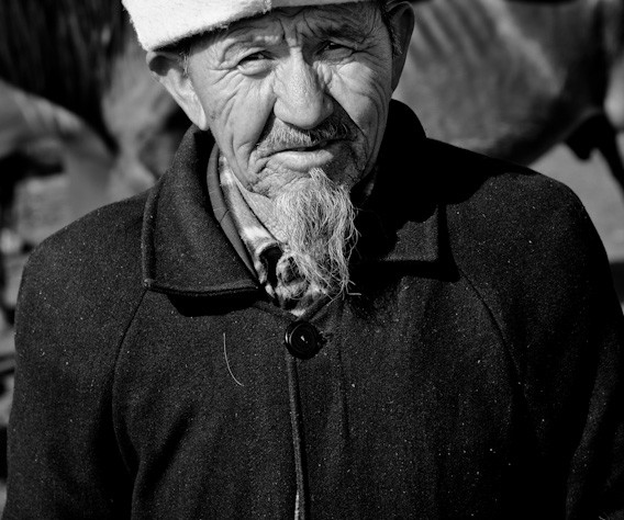 Old man at the animal bazaar
