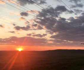 Sunset over Russian steppe near Mongolia