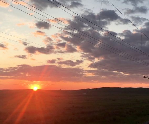 Sunset over Russian steppe near Mongolia