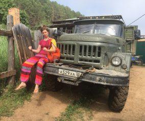 ANna on a Zyl truck